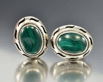 Vintage Taxco Silver Malachite Earrings, Sterling Silver Mexican Clip On Statement Earrings, Green Stone Southwestern Earrings