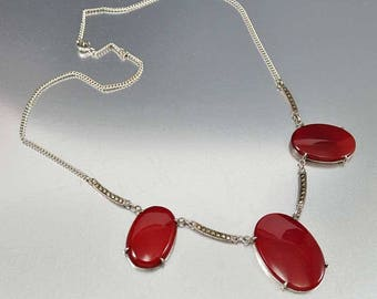 Art Deco Silver Marcasite Carnelian Necklace, Sterling Silver Red Stone Chalcedony Necklace, Vintage 1920s Germany Necklace Fine Jewelry