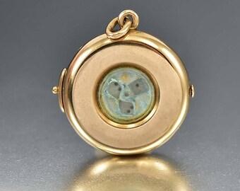 Antique 14K Gold Locket, Mechanical Dice Victorian Gold Engraved Locket Pendant, Good Luck Charm, Poker Dice Game Gift Idea, Gold Pendant
