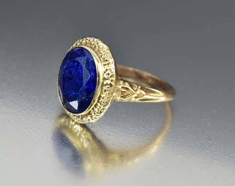 SOLD Gold Sapphire Blue Spinel Ring, 10K Yellow Gold Art Deco Ring, 12K White Gold Ring, Engagement Promise, Natural Blue Gemstone