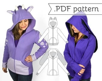 SALE - Women's Fitted Cosplay Hoodie Sewing Pattern .pdf Tutorial Hooded Jacket with Bear Cat Rabbit Fox Ears