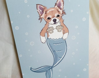 Long haired Chihuahua Mermaid Print - 5x7 Eco-friendly Size