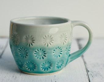 coffee cup aqua and white