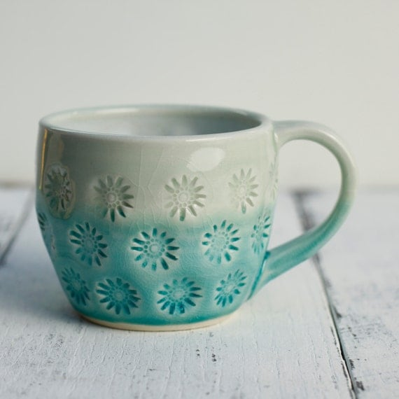 coffee cup aqua and white