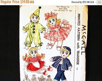 SALE 25% Off 1950s Sock Doll Pattern McCalls Clown Sock Doll, Ballerina Sock Doll, Girl Sock Doll, Sailor Doll