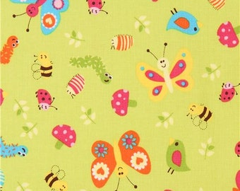 206233 lime green cute colorful insect leaf fabric Whooo Loves You