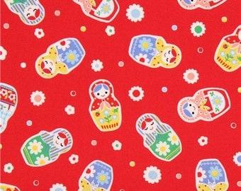 209157 red Lecien oxford fabric colorful Matryoshka