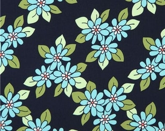 213613 navy blue Michael Miller fabric cute turquoise flowers Prairie Rose