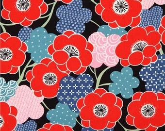 214306 black Alexander Henry fabric red pink flower Kiki Ume