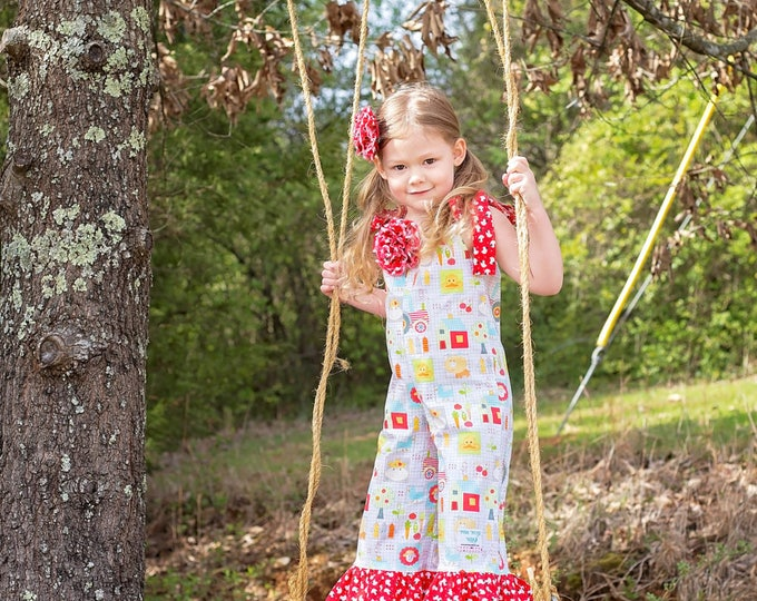 Farm Animal Birthday Outfit - Barnyard - Girls Ruffle Pants - Toddler Clothes - Little Girl - Pillowcase Romper - Sizes 3 months to 8 years