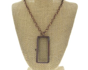 Locket Necklace diamon  antique copper rectangle -Our Glass Frame Pendant, with chain , sold by each
