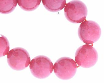 dyed jade beads , magenta, round    14mm, 09149.13