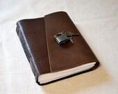 Walnut Brown Leather Diary with Lock- Medium