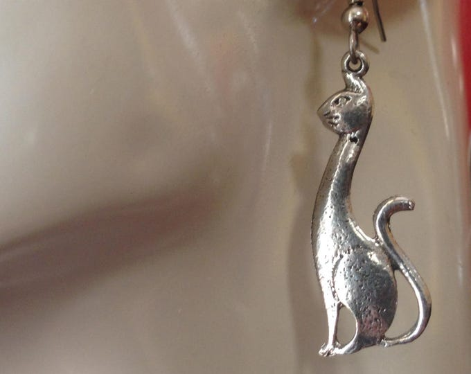 Sitting Cat earrings made with Australian Pewter and Surgical Steel hook