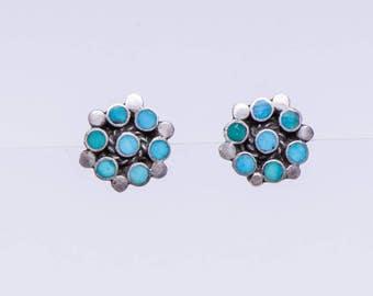 Zuni Turquoise Earrings - Dishta Flush Inlay - Sterling Posts / Studs