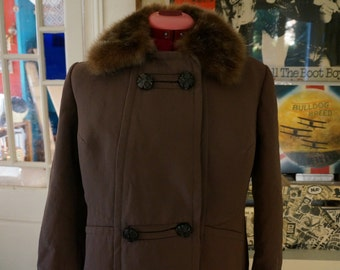 vintage 60s 70s double breasted brown coat faux fur collar 1960s 1970s