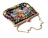 1930s Petit Point purse // Black Floral Tapestry Needlepoint Bag // Made in Austria