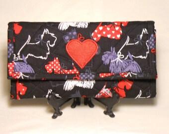 Scottie Love Wallet / Quilted Wallet / Women's Wallet / Trifold Wallet / Fabric Wallet
