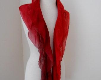 Nuno felted Merino Silk scarf wrap by plumfish reds