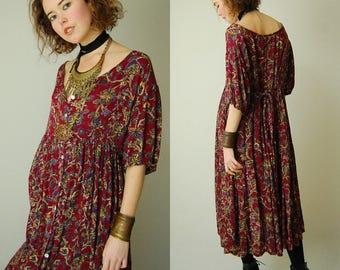 Slouchy Grunge Dress Vintage 90s Dark Red Crinkled Boho Grunge Oversized Midi Dress (s m l)
