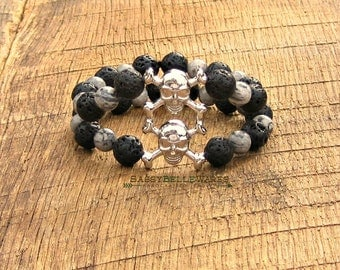 Stacked Skull & Crossbones Double Strand Bracelet rocker girl fashion style chic edgy black lava rock scenery jasper grey Gasparilla pirate