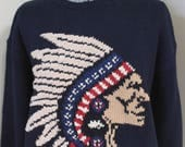 Polo Ralph Lauren Indian Chief Sweater American Indian '94 NWT Blue Cotton Hand Knit Sweater Indian Chief Headdress RL Red Tan Blue Vintage