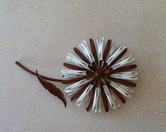 Stunning Vintage Enamel Brooch Blossom Flower cottage or shabby chic jewelry chocolate Brown and White great Details