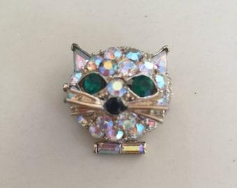 Vintage Cat Kitten Rhinestone Face Brooch Jewelry