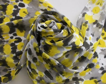 Hand Painted Silk Scarf - Handpainted Scarves Tie Dye Black Yellow Gray Grey White Bumblebee Bumble Bee