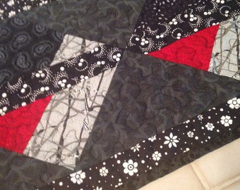 "Asian table runner, black and red table runner, 12 1/2""x 60"""