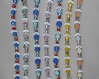 Beaded Angel Strands; 7 Strands, 8 Angels each (56 Angels); Use for charms, earrings, necklaces, and more