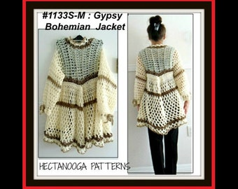 Crochet PATTERN- gypsy bohemian vest or jacket,  women, teens- Chest 38 - 48 inches,  shrug cardigan sweater shawl,#1133M-L