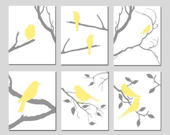 Bird Wall Art Set of 6 Prints Bird Decor Bird Bedroom Art Nature Wall Art Birds Yellow and Grey Decor Yellow and Gray - CHOOSE YOUR COLORS
