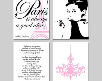 Audrey Hepburn Art Pink and Black Paris Decor Wall Art Set of 4 Audrey Hepburn - Paris Is Always A Good Idea, Chandelier, I Believe in Pink