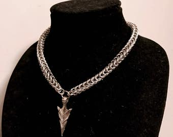 Ullr's Arrow-Viking charm chainmaille boxweave norse necklace