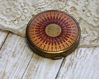 Vintage POWDER COMPACT- Coty New York- Goldtone with Red Abstract Design Make Up Case- Pressed Airspun Powder