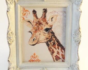 Giraffe art, Animal art, mixed media art, upcycled art, Original art, OOAK original art, Mini Painting,  repurposed  Vintage Frame
