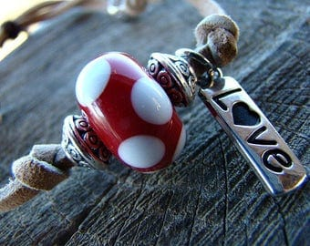 Love Bracelet, Valentines Day, Red Bracelet, Lampwork Glass, Leather Bracelet, Slide Knot Adjustable Bracelet, Charm Bracelet, Glass Bead