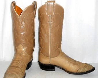 Vintage Tony Lama cowboy boots mens size 8 B / womens sz 9.5 western tan taupe