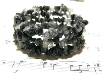 Black Wrap Bracelet Black Rutilated Quartz Triple Wrap Bracelet Bohemian Jewelry Most Popular Jewelry Top Selling Jewelry