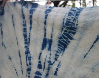 "Hemp Organic Cotton Fabric 1 Piece Indigo Shibori Hemp Natural Plant Dye Hemp Art Fabric  28 x 36"" Indigo Blue and White Indigo Hemp Fabric"