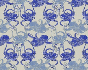 Squid Fabric - Cephalopod - Octopi Smaller - Mediterranean By Patricia Braune - Blue Squid Cotton Fabric By The Yard With Spoonflower