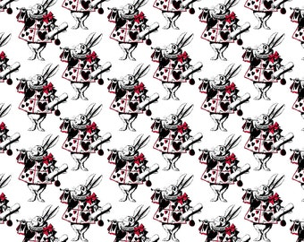 Alice in Wonderland Fabric - The White Rabbit With Red By Pond Ripple- Alice Rabbit Nursery Decor Cotton Fabric By The Yard With Spoonflower