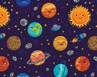 Outer Space Fabric - Happy Space By Penguinhouse - Galaxy Space Modern Gender Neutral Nursery Cotton Fabric By The Yard With Spoonflower