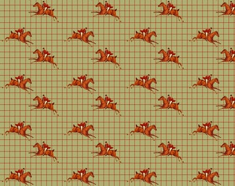 Equestrian Horse Fox Hunt Fabric - Foxhunt Tattersal On Celadon By Ragan - Horse Cotton Fabric By The Yard With Spoonflower