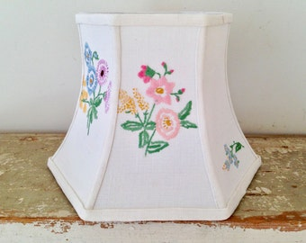 "Floral Embroidery Lampshade, Lamp Shade Upcycled with English Vintage Embroidery, Very Sweet, Pretty Floral Shade, 5"" top x 8"" bottom x 6"" H"