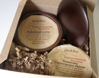 All Natural Shave Soap Gift Box, Two Shave Pucks, Wooden Shave Bowl