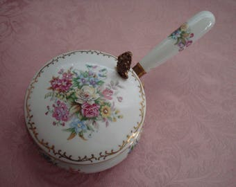 Beautiful, Possibly Antique, Porcelain Hand Painted Floral Silent Butler, Pink Roses, Floral Bouquet, Spring Flowers, Ornate, Vintage