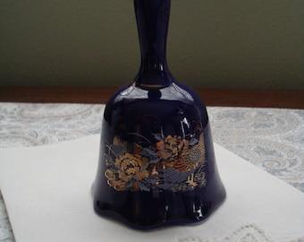 Deep Cobalt Blue 1960s Shibata Bell, Peacock Design, Two Peacocks, Oriental, Japan, Floral, Porcelain Bell, Mid Century
