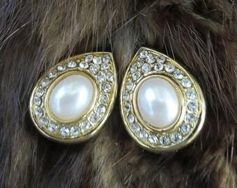 Teardrop Earrings White Faux Pearl and Clear Rhinestone Vintage Bridal Wedding